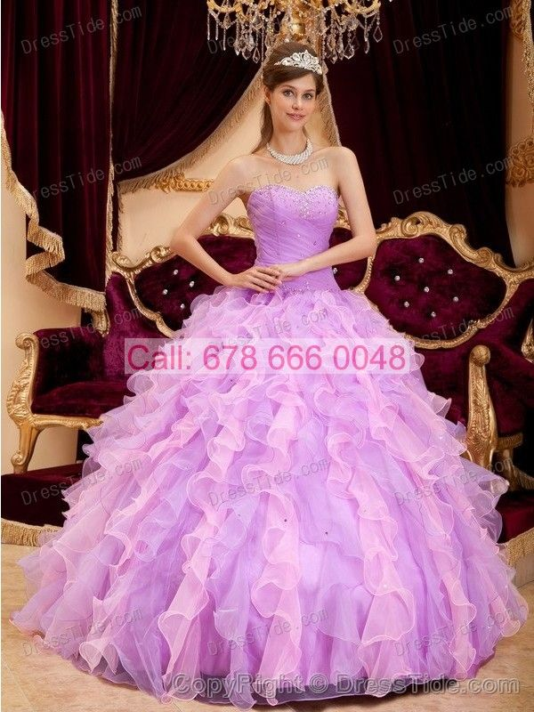 Lavender Sweetheart Dress for Quinceanera with Beading and Nice Ruffles - Quinceanera Dresses 2015 - Quinceanera Dresses