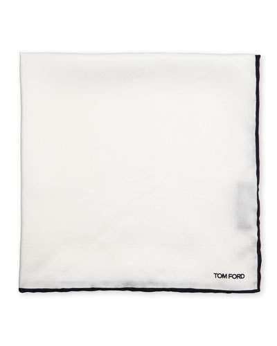 TOM FORD Solid Pocket Square w/Contrast Border, Black