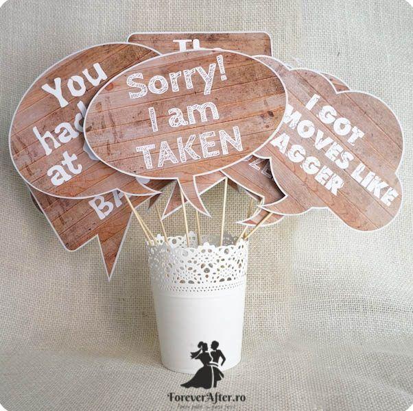 Set 9 props cu mesaje pentru fotografii 2 | Accesorii nunta - Props nunta | ForeverAfter.ro