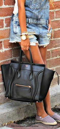 Cute cut off bibs and Celine Luggage Handbag