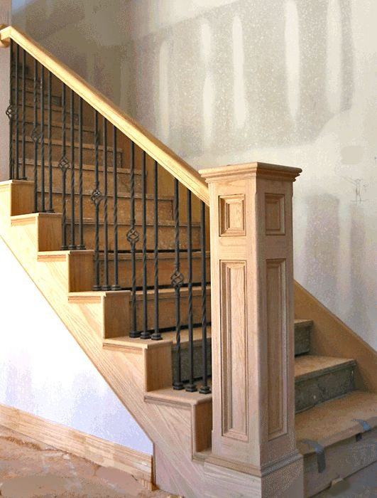 -Wrought iron spindles - iron stair railings like the spacing, bottom too heavy for us but like wood/iron mix