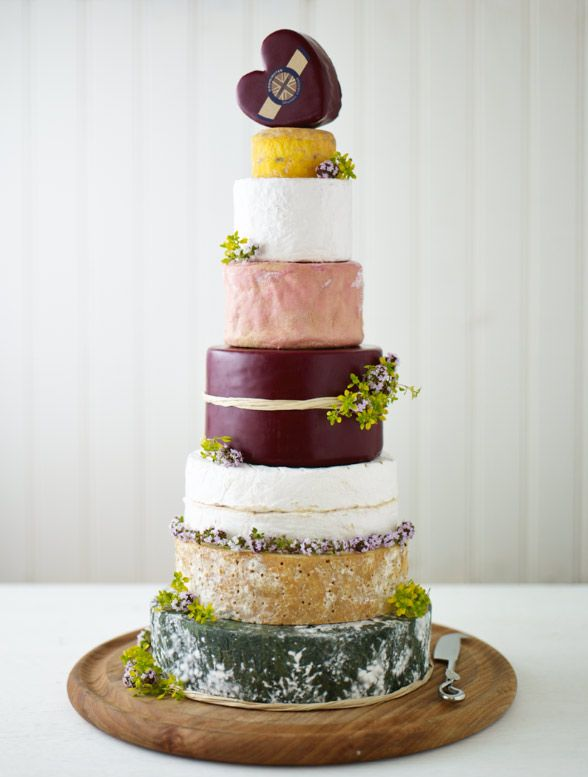 Champion Cheese Cake Who says an amazing cake has to be sweet? This incredible cheese wedding cake stack by Yumbles is made up of 10kg of pure cheese. It includes such cheesy delights as Cornish Yarg, Godminster Vintage Organic Cheddar and White Nancy Goats Cheese.