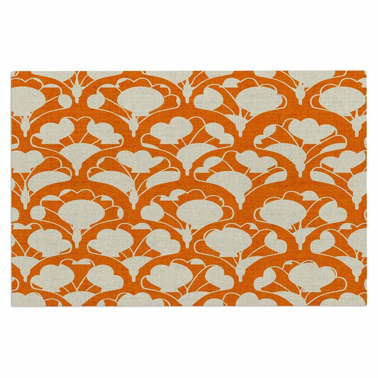 "Michelle Drew ""Art Deco In Orange"" White Decorative Door Mat"