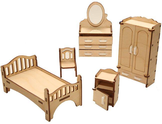 Кукольная мебель сборная Спальня 10 предметов, дверцы открываются Надежный выбор (Йошкар-Ола)