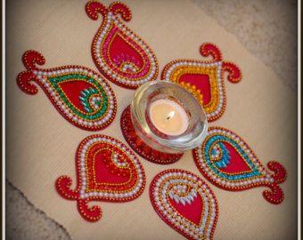 Floor Art Multi Color Kundan RangoliBlue & by ManoramasJewellery