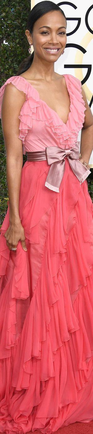 Zoe Saldana in Gucci 2017 Golden Globes
