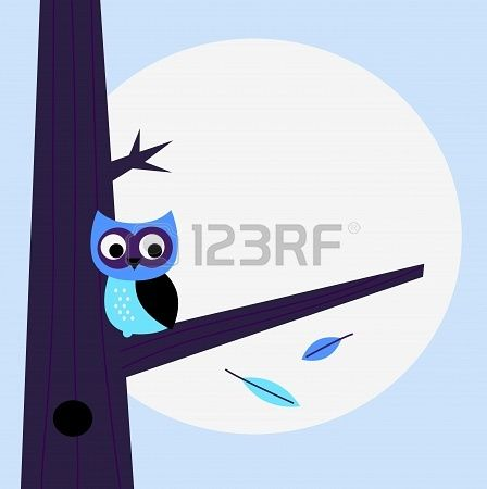 Halloween background with Owl  Vector cartoon Illustration