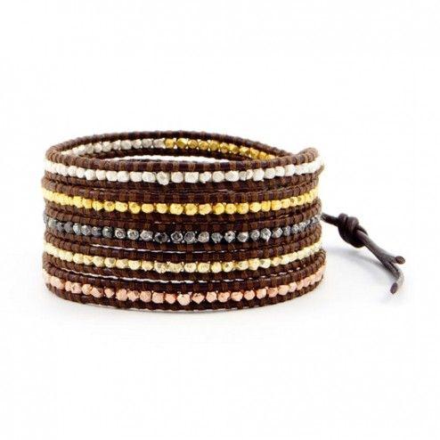 Chan Luu Brown Leather Multi Nugget Wrap Bracelet at aquaruby.com