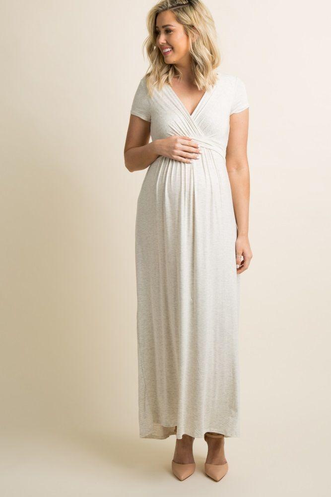 57f90190d045d5 Beige Draped Maternity Nursing Maxi Dress