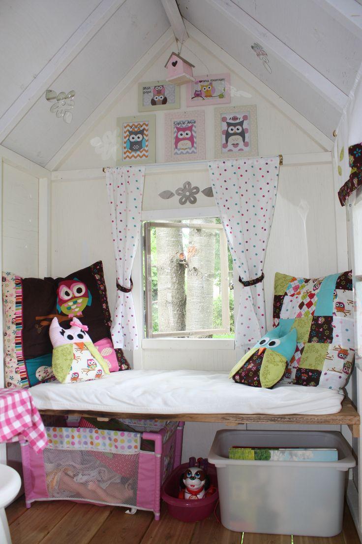 playhouse interior, playhouse decor, bench, cushions, frames, owls, storage, curtains, playhouse window