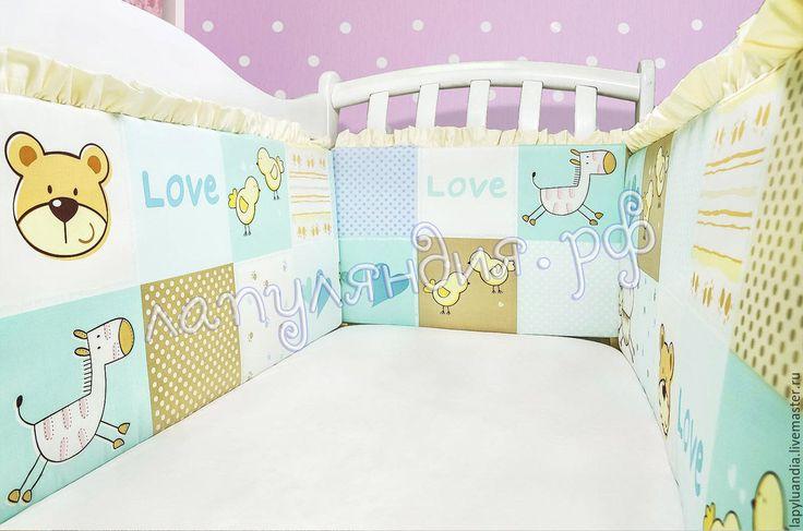 Купить Бортики в детскую кроватку - комбинированный, бортики в кроватку, постельное белье детское, комплект в кроватку