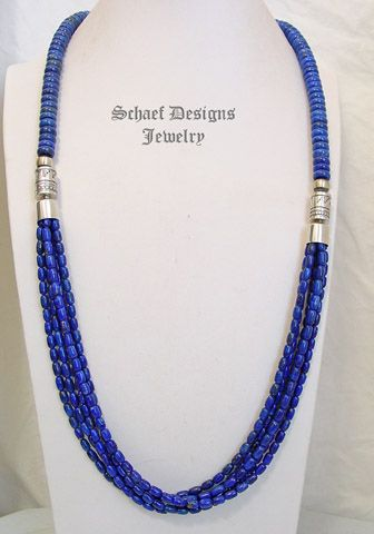 Schaef Designs cobalt blue lapis lazuli and sterling silver tube bead multi strand long Southwestern necklace | New Mexico