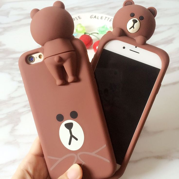 3D Line Brown Bear soft silicone phone case for iPhone