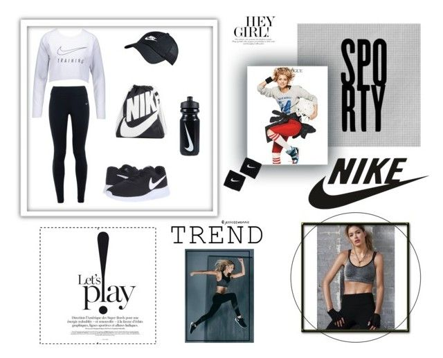 Sport #NIKE @sportwear/fitness ⚽️🏀🏈🎾🏐 by jessicazwennis on Polyvore featuring polyvore, fashion, style, NIKE, Lanston and clothing