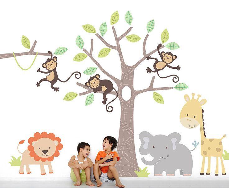 children's jungle wall sticker set by parkins interiors | notonthehighstreet.com