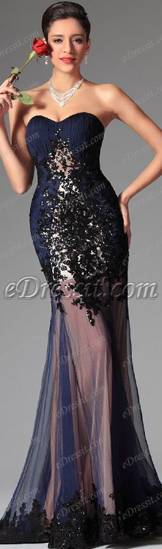 Rock your look in this navy blue gown! #edressit #dress #navy_blue #fashion #women