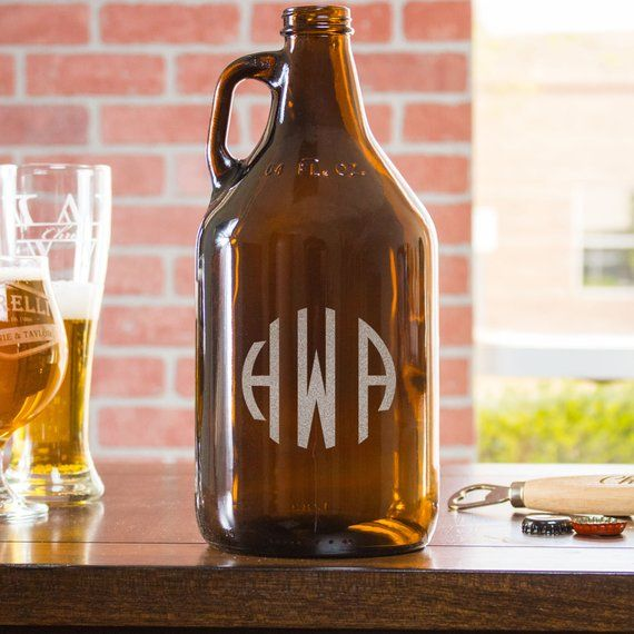 Monogram Growler, Gift for Beer Lover, Personalized Growler, Initial Beer Growler, Etched, Engraved,