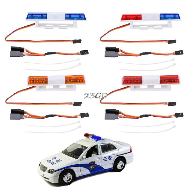 2017 Ultra Bright  Rectangle Bright LED Lamp Police Light For 1/10 1/8 4WD Axial SCX10 RC Model Car JUN13_45 #Affiliate