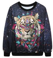 Autumn Winter Punk style Women Hoodies Casual Tiger Printed Sweatshirts Women tracksuits suits set