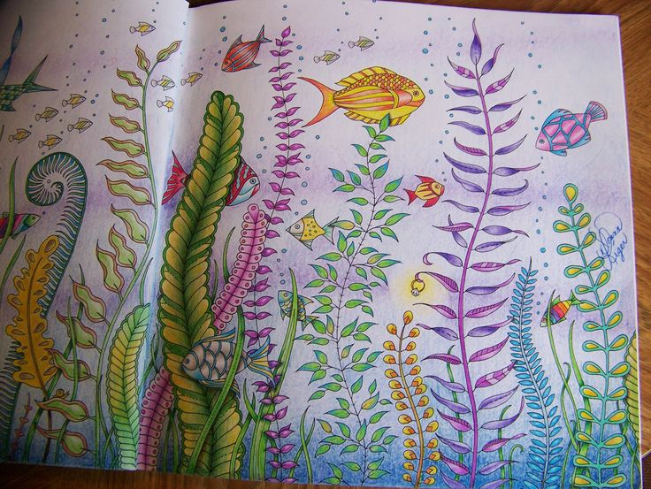 Adult Coloring Book Lost Ocean Johanna Basford Underwater Fish Second Page Colored By Donna Leger
