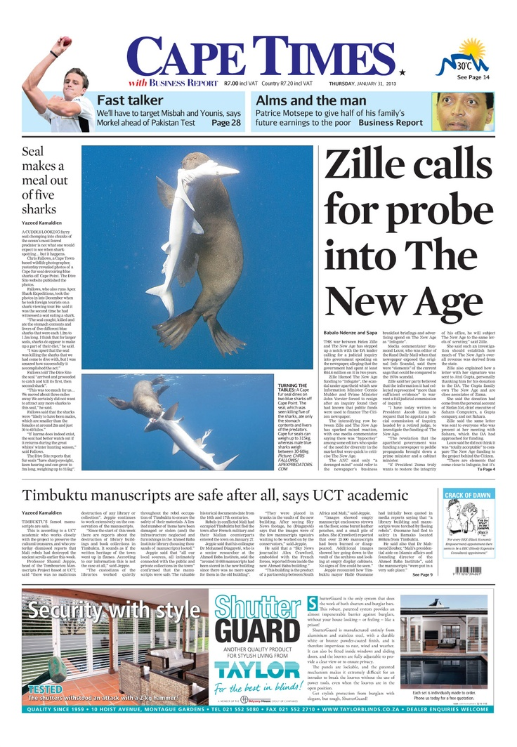 News making headlines: Zille calls probe into the New Age