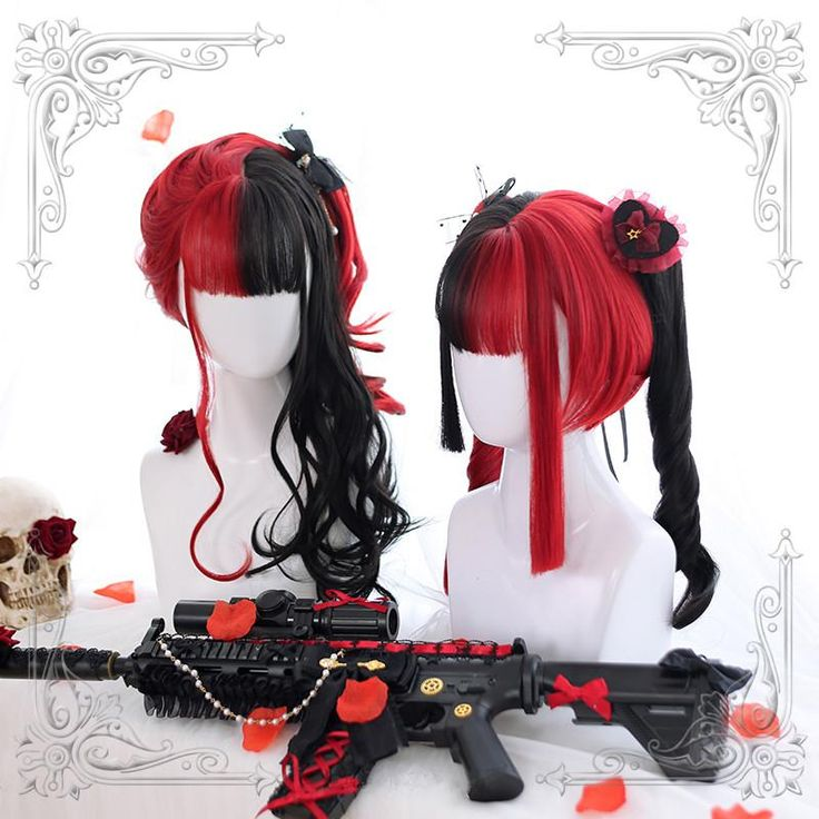Lolita red and black colorblock wig YC21439