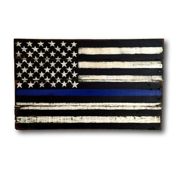 Thin Blue Line Flag/ Thin Blue Line Wood Flag/ Law Enforcement Gift/ Wood Flag
