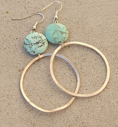BIG AQUA BLUE COIN TURQUOISE EARRINGS BRUSHED SILVER HOOP LONG LARGE JEWELRY | eBay