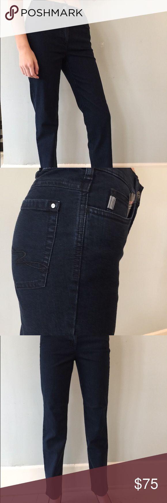 "Zerres Women's Jeans in Dark Blue Greta style Zerres Women's Jeans in Dark Blue.  Straight leg with 31"" inseam.  Comfort waist with elastic band just at sides. Zerres Jeans Straight Leg"