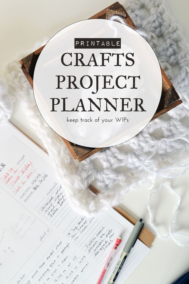Printable craft project planner