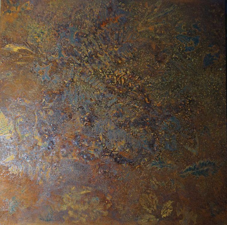 """"""" Gigante # 1 """" Pseudofossile Quadrato-Rombo Spettro Natura per Terezin ( #5). Impronte di felci e foglie su ferro ossidato. cm 70 x 70 , 2014."""