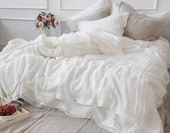 Linen Lace Bedding Set In Off White Or Natural Flax Stonewashed Linen Lace Duvet Set Linen Duvet Cover Pillow Lace Bedding Lace Bedding Set Luxury Bedding
