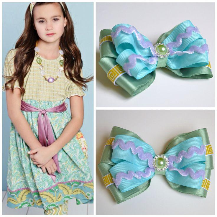 Matilda Jane Maybelline dress matching hair bow (Greek Key, Lavender Rig Rag, Sage Green, Light Blue) Custom Order by Purple Fairy Creations