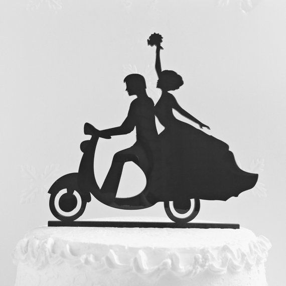 Wedding cake topper silhouette.