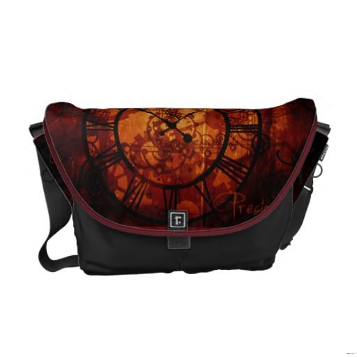 steampunk clock Messenger Bag
