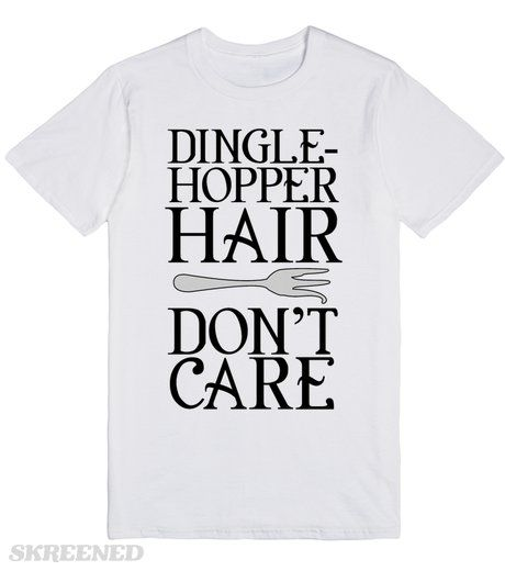 The Little Mermaid - Dinglehopper hair don't care!  The Little Mermaid - Dinglehopper hair don't care! Want mermaid hair? Just take Scuttle's advice! Give your hair a twirl with the dinglehopper and *poof* an aesthetically pleasing appearance! Humans are so silly.  Printed on Skreened T-Shirt