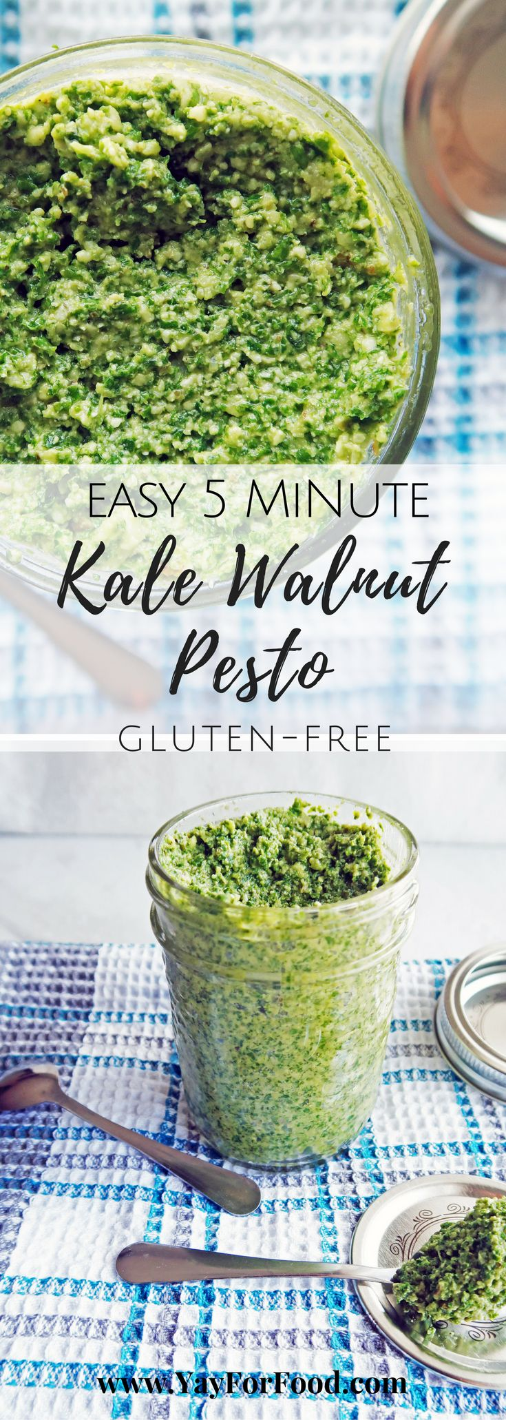 Make this easy delicious Kale Walnut Pesto in 5 minutes. It's so versatile, simple, flavourful and requires minimal ingredients! #vegetarian | #glutenfree | #pesto | #kalepesto | #sauces | #fastrecipes | #easyrecipes