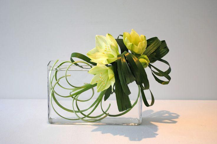 Ikebana, style libre Jiyuka (Artcraft) par Thai Mai Van J'ai créé cette composition florale s'appuie sur le thème transparent et l'ombre.  Matériels: Les fleurs d'Amaryllis et les feuilles d'Aspidistras
