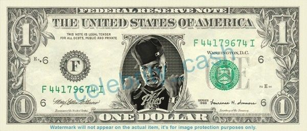PLIES Rapper on REAL Dollar Bill Cash Money Bank Note Currency Dinero Celebrity