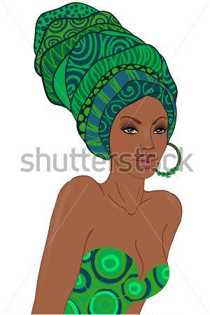 Portrait of Beautiful African American Woman IN Turban stock vector - VectorHQ.com