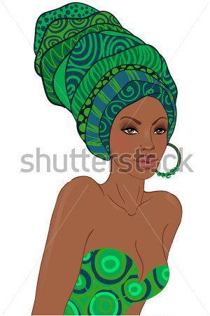 Portrait of Beautiful African American Woman IN Turban stock vector - VectorHQ.com