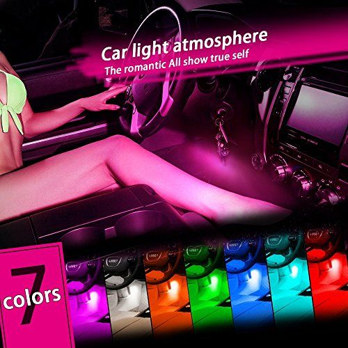 Thunder® 12V 4*3 LED Car Interior Decorative Atmosphere Neon Light Lamp - Best in Automotive Interior Accessories - Auto Car Floor Lights with Bright Light for All Vehicles - Single Color Pink