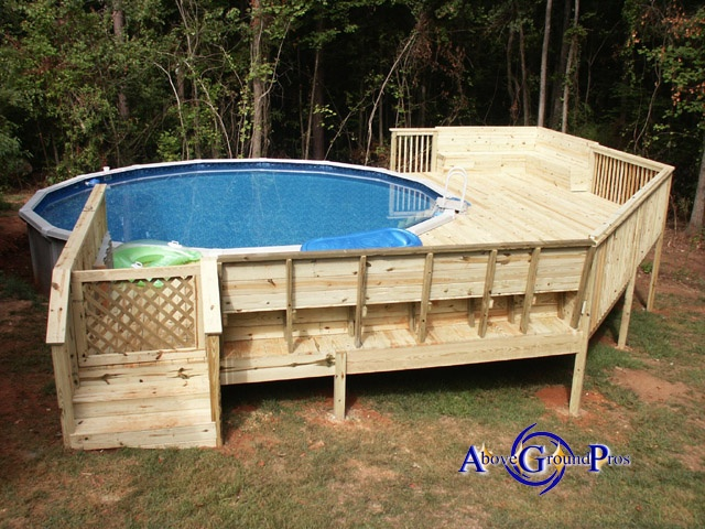 Above ground pool pool deck ideas pinterest ground for Deck plans for above ground pools