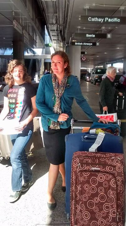 Natalie, her sister, and luggage