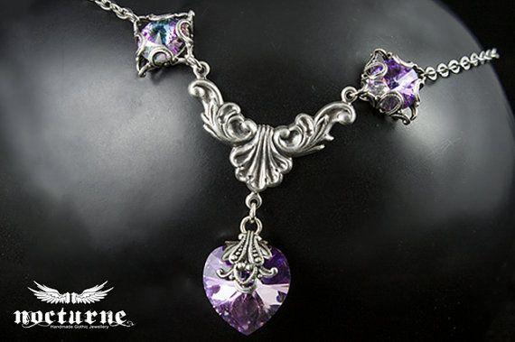 Fantasy gothique coeur collier - Vitrail Light Swarovski - bijoux gothiques victoriens