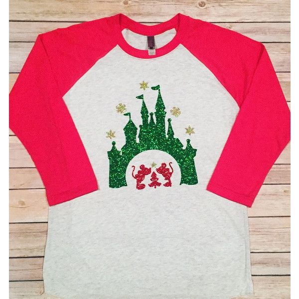 Disney Christmas raglan/long Sleeve Disney shirt/disney Christmas... ($25) ❤ liked on Polyvore featuring tops, grey, women's clothing, gray top, long-sleeve shirt, gray shirt, raglan top and christmas shirts