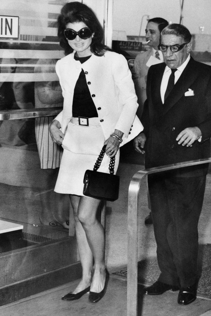 June 5, 1969 Where: With her husband,Aristotle, boarding a plane at JFK Airport.