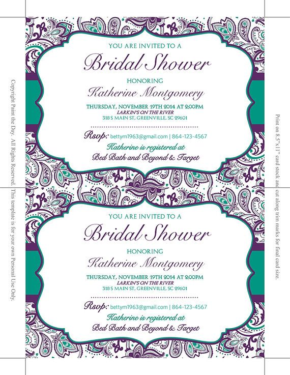 Bridal Shower Invitation Template Teal Green Eggplant Plum Purple Chic Paisley Instant Downloa Products Pinterest Invitations