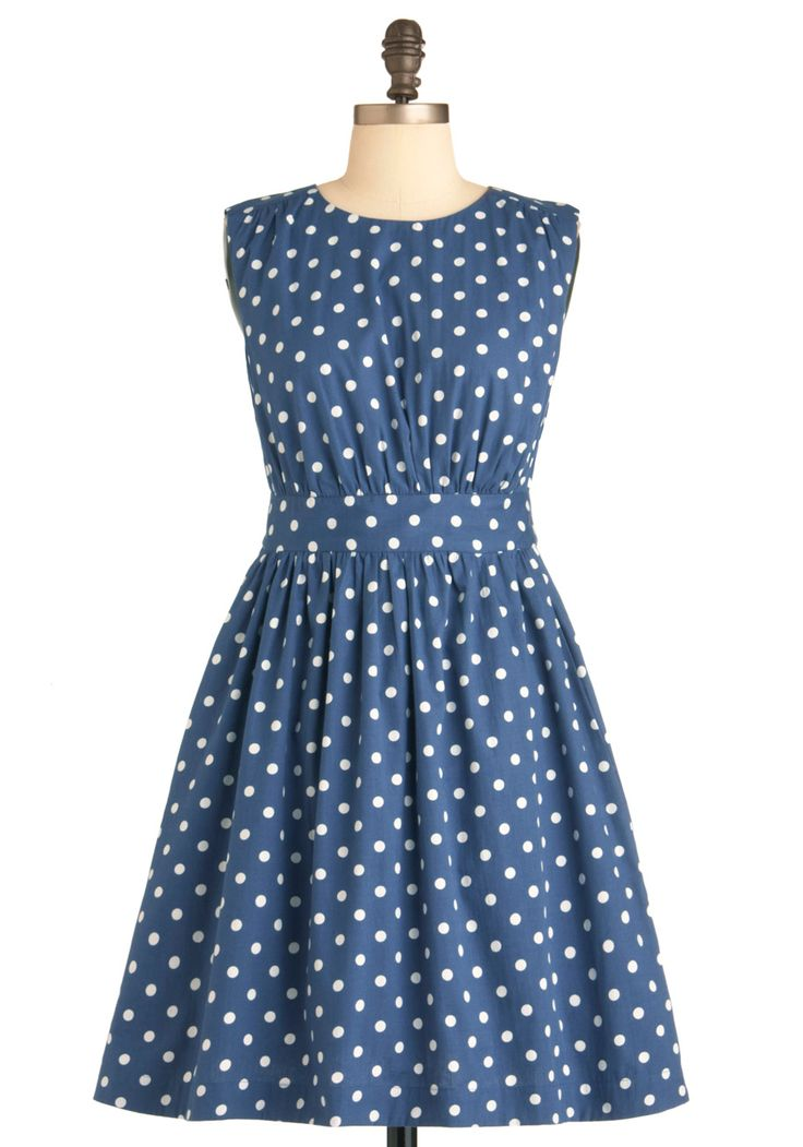 Too Much Fun Dress in Bubbles by Emily and Fin - Mid-length, Blue, White, Polka Dots, Pockets, Casual, Vintage Inspired, 50s, A-line, Sleeveless: Polka Dots Dresses, Style, Fun Modcloth, Bubbles, Retro Vintage Dresses, Pockets, Vintage Inspiration, Blue Polka Dots, Fun Dresses