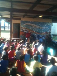 Performing for the kids at Mornington Island school